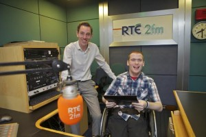 ​Keith Costello (21) from Graiguenamanagh, Co. Kilkenny supported by Access Employment in Kilkenny shadowed presenter Ryan Tubridy at RTÉ 2FM on Job Shadow Day 2015